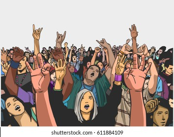 Illustration of massive crowd cheering at a concert in color