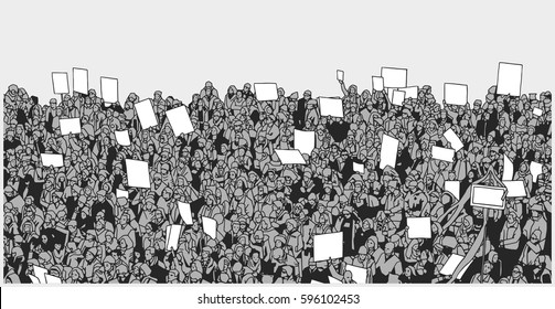 Illustration of massive crowd protest with blank signs in grey scale