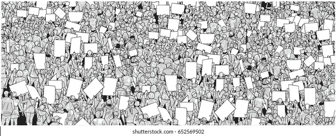 Illustration of massive crowd protest with blank signs. Ideal use as background or texture.