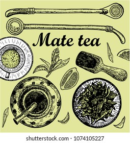 "Illustration with mate tea in calabash and bombilla and ""yerba mate"" plant. Drink mate, bomber, calabash, and mate branch and leaves. Hand drawn illustration."