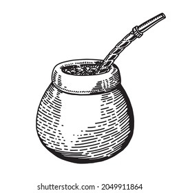 Illustration with mate tea in calabash and bombilla and yerba mate plant, vector illustration, isolated