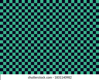 Illustration of material for background of checkered pattern (Green & Black).