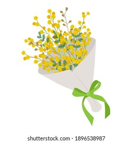 Illustration material of a bouquet of mimosa (vector, white background, cut out)
