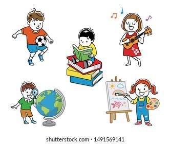 Illustration material: Children: sets, variations