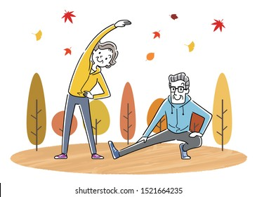 Illustration material: exercise, sports fall, senior couple doing gymnastics