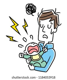 Illustration material: Father who is troubled by a baby who does not stop crying