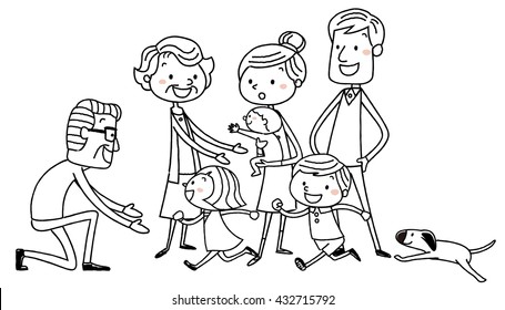Illustration material: Fun family line drawing