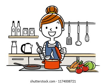 Illustration material: housewife, cooking