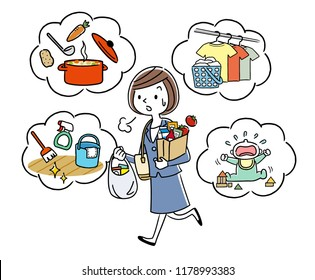 Illustration material: housewife doing housework while working