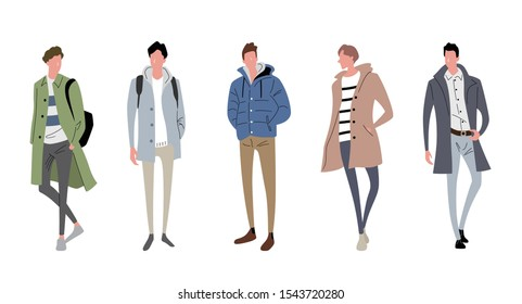 Illustration material: male, winter fashion