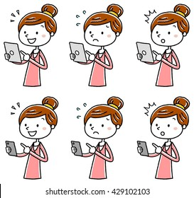 Illustration material: young woman tablet smartphone operation variation