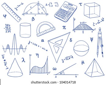 Illustration of mathematics - school supplies, geometric shapes and expressions. math  icon symbols. engineering technology and education doodles. math or physics sketch drawing.