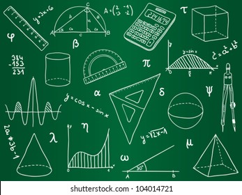 Illustration of mathematics - school supplies, geometric shapes and expressions on school board