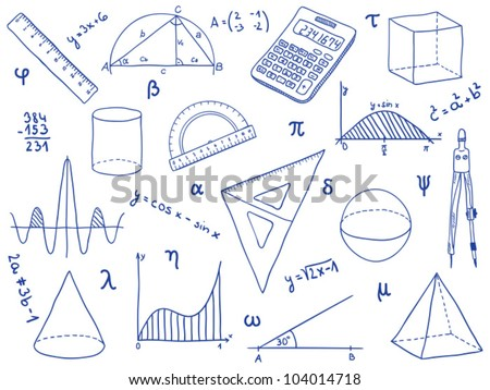Illustration Mathematics School Supplies Geometric Shapes Stock