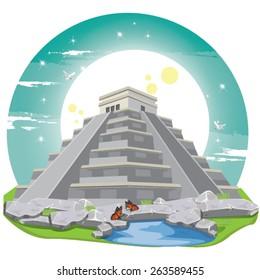 illustration . Maya Pyramid Old Mexican Stone.chichen itza