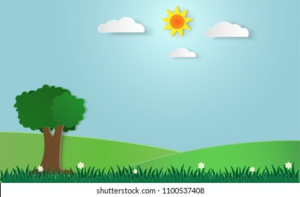 Illustration of meadow with flowers and cloud, sun, tree, blue sky, paperart