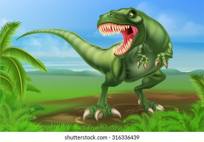 An illustration of a mean looking Tyrannosaurs Rex dinosaur in a prehistoric background