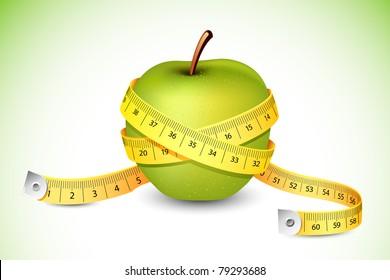 illustration of measuring tape around fresh green apple