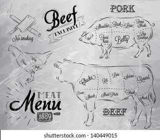 Illustration of meat for menu, steak, cow, pig, chicken divided into pieces in vintage style drawing with coal on grey  background.