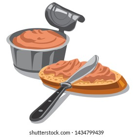 illustration of the meat pate spreading on the bread