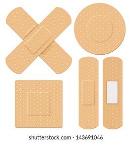 illustration of medical bandage in different shape