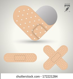 illustration of medical bandage in different shape, Heart help care.