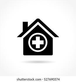 Illustration of medical house icon on white background