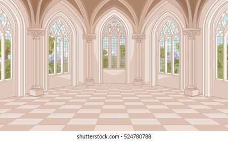 Illustration of medieval castle hall