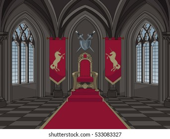 Illustration of medieval castle throne room