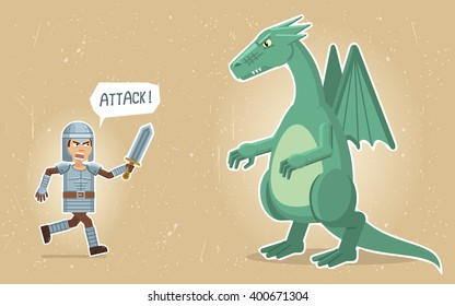 Illustration of a medieval knight fighting with a dragon. Fantasy characters. Old paper background. Flat style vector illustration