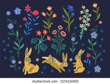 illustration in medieval style. Easter set. Easter bunnies and wildflowers. Simple flowers. Bouquets of wildflowers. Vintage card. Hand drawn illustration. Happy easter!