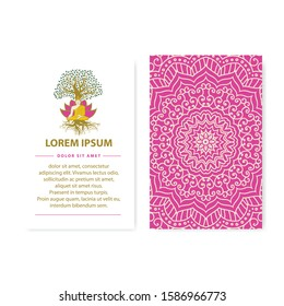 Illustration of meditating Buddha with lotus flower and tree of life in behind as a part of vector invitation template