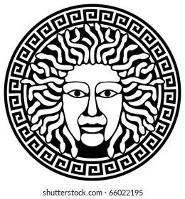 Illustration of Medusa Gorgon head  with snake hair.