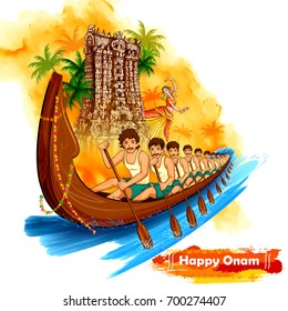 illustration of Meenakshi temple backdrop Snakeboat race in Onam celebration background for Happy Onam festival of South India Kerala