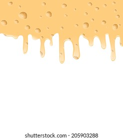 Illustration melted cheese texture with holes, space for your text - vector