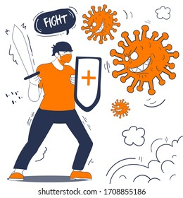 illustration men fight with corona virus