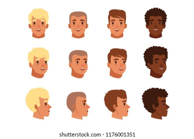 Illustration of men head avatars set with different haircuts. Classical trendy hairstyle, curly hair, bald. Flat design icons