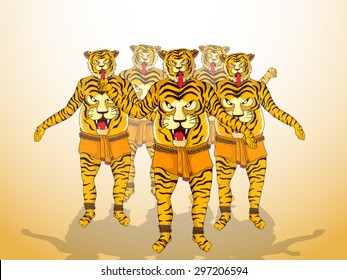 Illustration of a men in tiger dance (Puli Kali) get up on shiny  background for South Indian festival, Happy Onam celebration.