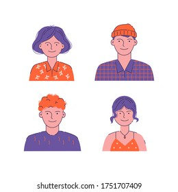 Illustration of men and women with face and shoulders. Various portraits of characters. Flat outline illustration. For social networks, user interface, UX, web design, interfaces and applications.