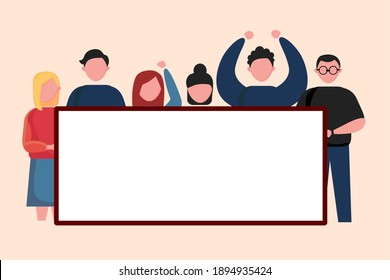 illustration of men and women holding baner, text, invitation, greeting cards, etc