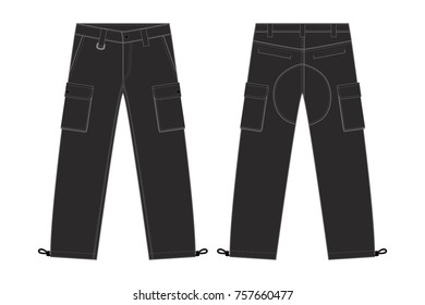 Illustration of men's cargo pants(black)