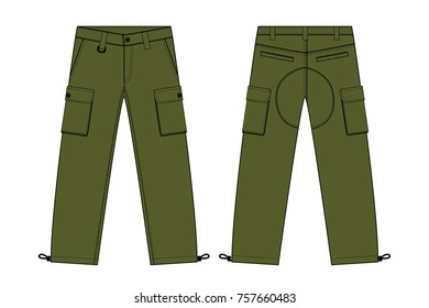 Illustration of men's cargo pants(kahki)