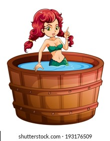 Illustration of a mermaid inside the big wooden bathtub on a white background