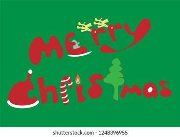 Illustration merry christmas cartoon font design