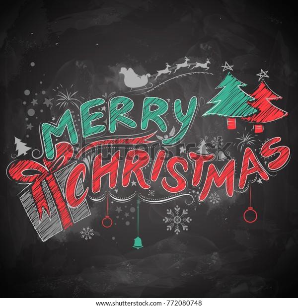 Christmas Board Design.Illustration Merry Christmas Chalk Lettering Design Stock