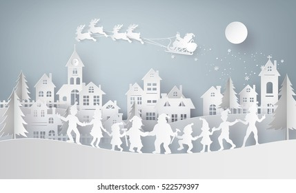 Illustration of  merry christmas and happy new year,Claus on the sky coming to City  with  family dance around .Design and produce by vector of paper art and  digital craft style