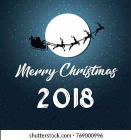 illustration of Merry Christmas and Happy new year 2018.