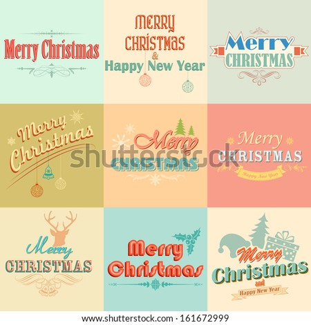 Illustration Merry Christmas Labels Retro Vintage Stock Vector