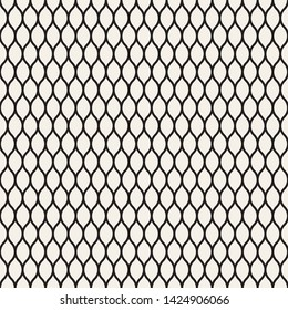 Illustration of mesh, fishnet, fish scales. Black thin wavy lines on white backdrop, vector seamless pattern. Subtle monochrome background, simple repeat texture. Design for prints, decoration, web