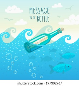 Illustration of message in the bottle